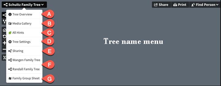 Tree name menu
